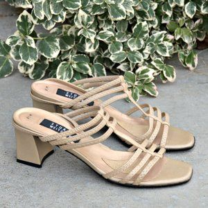 Stuart Weitzman Strappy Square Toe Sandals in Gold
